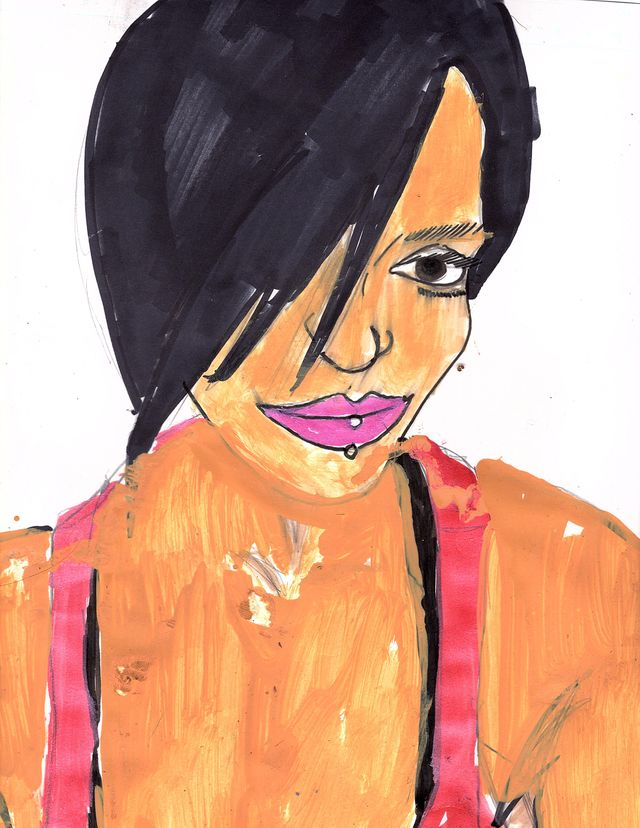 image: PORTRAIT OF A BEAUTIFUL WOMAN WITH SHORT HAIR . INK ON WATERCOLOR PAPER.