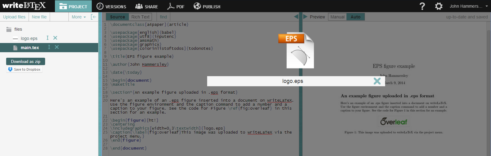 Writelatex eps figure upload example screenshot