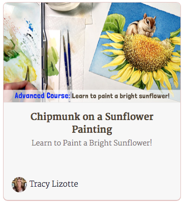 Chipmunk on a Sunflower Painting