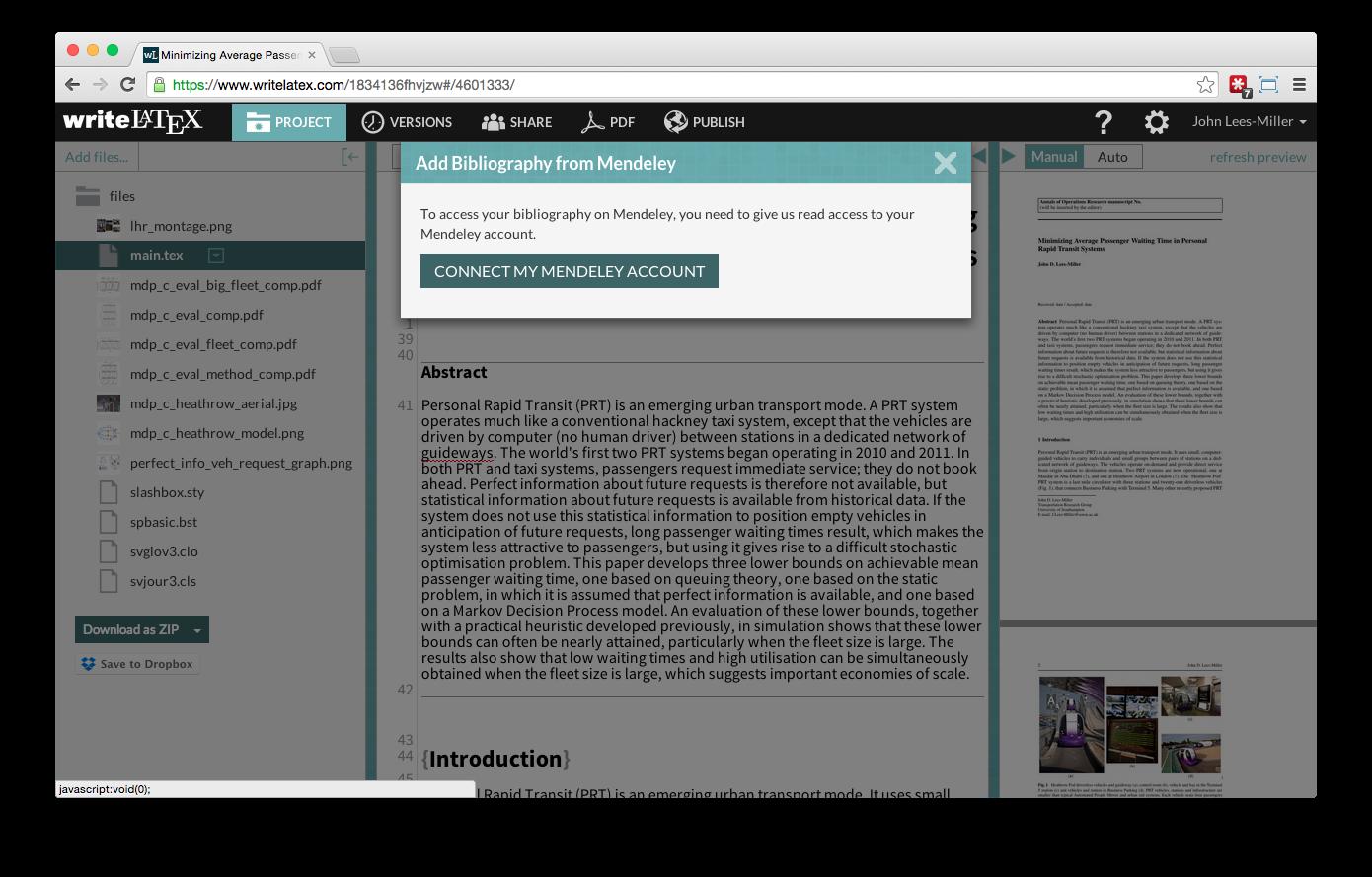 Overleaf Writelatex Mendeley reference bibliography import screenshot 3