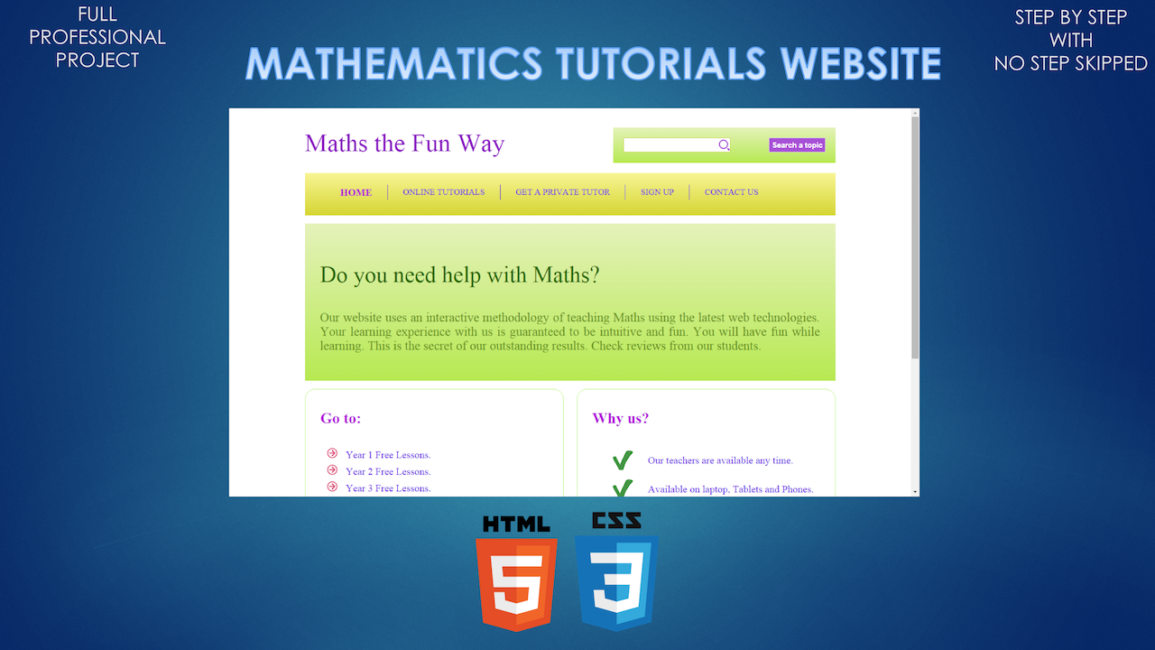 Build a Mathematics Tutorials Website using HTML & CSS | Developme
